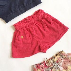 Zara BabyGirl Red Textured Shorts